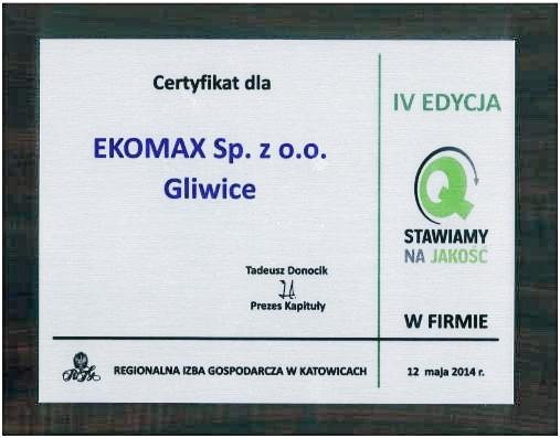 c7660de89066cb ... Certyfikat Regionalnej Izby Gospodarczej w Katowicach